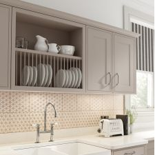 The Mackintosh Edwardian kitchen comes in a traditional style with a matt finish. Browse the kitchen features and find a retailer near you. Painting Kitchen Cabinets, Kitchen Cabinet Design, Kitchen Paint, Kitchen Tiles, New Kitchen, Kitchen Decor, Plate Racks In Kitchen, Cabinet Plate Rack, Shaker Kitchen