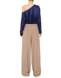 Tibi | Asymmetrical Off Shoulder Satin Blouse in Navy | Long Sleeved - IFCHIC
