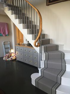 Grey stair runner installed in Tetbury.