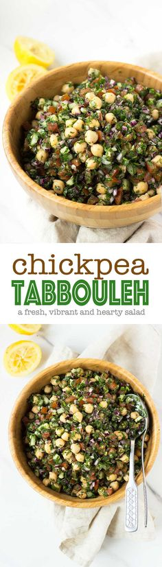 Chickpea Tabbouleh - a new take on tabbouleh! Using chickpeas instead of cous cous makes it more hearty and filling! Get the recipe at nutritionistmeetschef.com