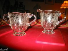 Fostoria Baroque-Clear Pattern #2496 Etched Crystal Creamer & Suger