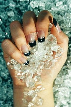 you're as cold as ice, willing to sacrifice our love.. you're digging for gold, you want paradise but someday you'll pay the price I know..    #Black_French_Manicure #Silver_Glitter #Nail Art