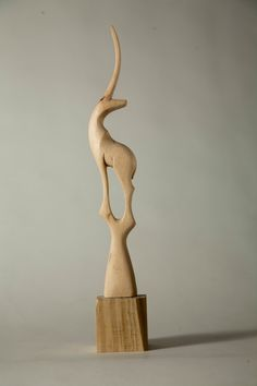 Wood Art Sculpture Hand Carved Deer 2 by Allegro by AllegroDecor, $85.00