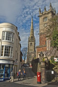 Shrewsbury. Lovely old town. Home to Brother Cadfael. View towards Fish Street and the redundant church. Beautiful non - chain shops exist here
