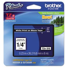 Brother P-Touch TZe Standard Adhesive Laminated Labeling Tape - White/Black