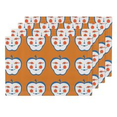 Lamona Cloth Placemats featuring Happy Apfel  by beckra_sew_indigo | Roostery Home Decor #spoonflower
