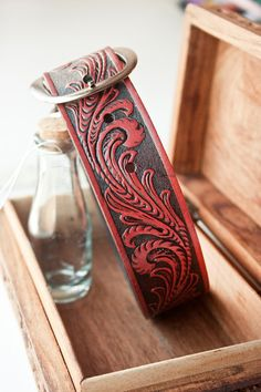 Custom Leather Dog Collar - XL - shown in Red Wine stain - tooled band - MesaDreams on Etsy