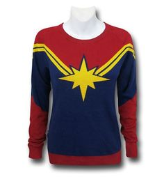 The 100% cotton Captain Marvel Women's Costume Sweater is the new costume for the newly upgraded Ms. Marvel/ Carol Danvers!