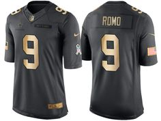 Cowboys #9 Tony Romo Anthracite 2016 Christmas Gold Salute to Service Jersey