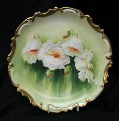 "Vintage 13"" Limoges Platter Round Charger Hand Painted Poppies"