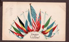 US United for Victory Illustrated Postal Card & Nov. Co. N.Y. WWI  Allied Powers