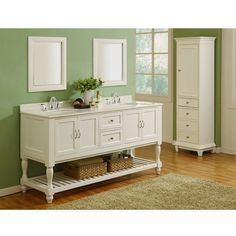 """The J & J International 70"""" Pearl White Double Sink Vanity Cabinet with White Marble Top http://www.listvanities.com/white-bathroom-vanities.html will transform your bathroom into a spa-like retreat. This Mission styled double bathroom vanity features turn legs, a Pearl White finish, and brushed nickel hardware. These traits give it a timeless style that you will enjoy for years. For a more contemporary appeal, the bottom features a large open shelf with slat design"""
