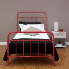 NEW Sturdy Single Steel Frame BED OLD Hospital Style Vintage Look RED