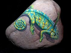Garden stone/Painted rocks / Painted stone / Chameleon/ Rock Painting / Lizard/Reptile / Door stop / Book Ends / paper weight on Etsy