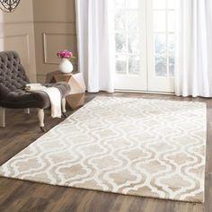Safavieh Handmade Dip Dye Beige/ Ivory Wool Rug (8' x 10')