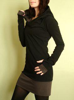 hooded tunic dress extra long sleeves w/thumb holes