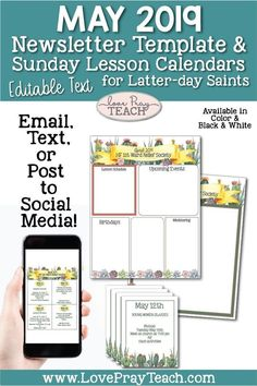 May 2019 Editable Newsletter Template and Sunday Lesson Calendars for Relief Society and Young Women Relief Society Lesson Helps, Relief Society Lessons, Latter Days, Latter Day Saints, Lds Primary Lessons, Newsletter Template Free, Schedule Calendar, Young Women Lessons, Class Activities