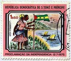Sao Tome & Principe. PROCLAMATION OF INDEPENDENCE DEC 7, 1975. MAN & WOMAN