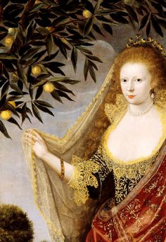 Portrait of a Lady, Called Elizabeth, Lady Tanfield, 1615. Detail.