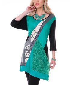 Look at this #zulilyfind! Teal Hexagon Scatter Tunic by Aster #zulilyfinds