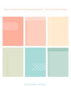 Free printable – Tone On Tone Journaling Cards Vol. 2 by Creativity Prompt.