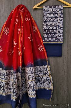 Price Rs 1600 + Shipping extra Hand block Printed chanderi silk dress materials Top and dupattas chanderi silk (2.50×2 mtrs) Bottom cotton (2.50 meters) Chanderi Suits, Chanderi Silk Saree, Silk Sarees, Silk Suit, Exclusive Collection, Pure Products, Skirts, Stuff To Buy, Dresses