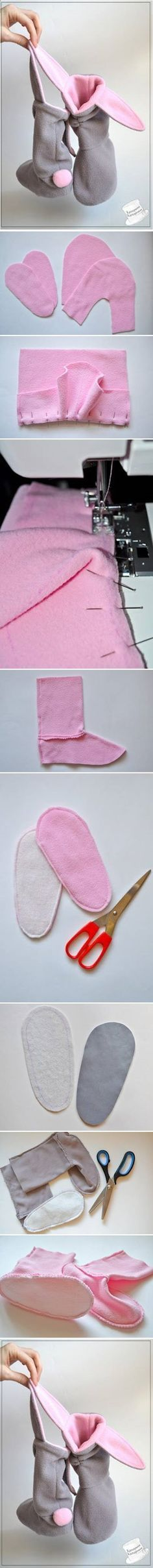 DIY Cute Bunny Slippers - very cute but terrible instructions. I want some Bunny Slippers! Fabric Crafts, Sewing Crafts, Sewing Projects, Diy Projects, Sewing For Kids, Baby Sewing, Free Sewing, Diy Clothing, Sewing Clothes