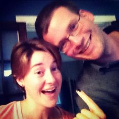 John Green Hanging out with the ridiculously talented Shailene Woodley at the #tfiosmovie.