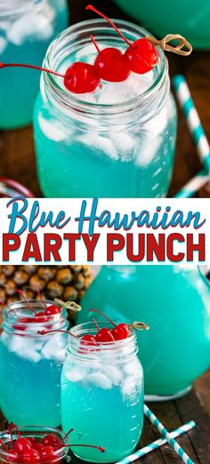 Blue Hawaiian Party Punch is an easy vodka party punch recipe perfect for summer! Just a few easy ingredients and it's a refreshing cocktail for a crowd. #easy #alcohol #summerdrinks #recipes #vodka