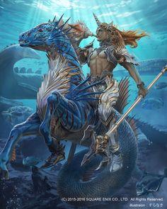 Triton illustration from Mobius Final Fantasy - Rpg Mobius Final Fantasy, Final Fantasy Art, Fantasy Kunst, Fantasy Artwork, Dark Fantasy, Mythical Creatures Art, Mythological Creatures, Character Art, Character Design
