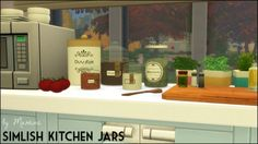Simlish kitchen jars at Martine's Simblr via Sims 4 Updates