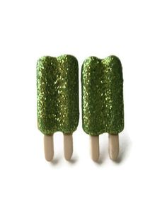 Popsicle Stud Earrings, Green Glitter Coating, Choice of Hypoallergenic Surgical Steel or Silver Toned Posts #green #popsicle #earrings #jewelry #food #glitter #sparkle #studs $5.00
