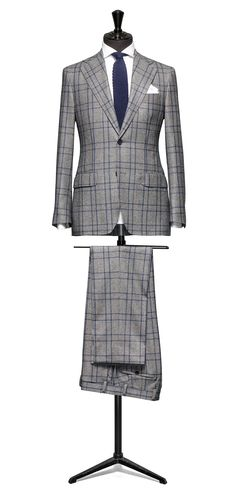 Grey suit Glencheck blue check S120 http://www.tailormadelondon.com/shop/tailored-suit-fabric-4309-check-grey/