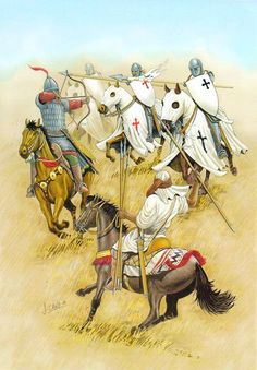 """""""Battle of Las Navas de orders involved are the Order of Santiago, Order of Calatrava, the Knights Templar and the Knights Hospitaller. They form the centre of the second line. Knights Hospitaller, Knights Templar, Medieval World, Medieval Fantasy, Military Art, Military History, Crusader Knight, Armadura Medieval, Renaissance"""