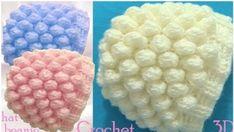 Crochet 3D Beanie Hat with Snow Balls Stitch - Free Pattern [Video]