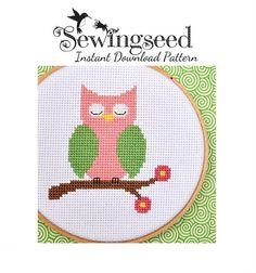 INSTANT DOWNLOAD Pink Owl Cross Stitch Pattern di Sewingseed