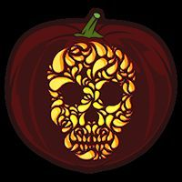 Fancy Skull CO - Stoneykins Pumpkin Carving Patterns and Stencils