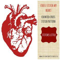 Anatomical Heart Cross Stitch Pattern - Modern Cross Stitch - PDF Pattern - Instant Download