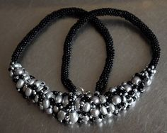 Silver pearls and black sand beads peyote necklace Black Sand, Silver Pearls, Beaded Necklace, Beads, Trending Outfits, Unique Jewelry, Handmade Gifts, Etsy, Beaded Collar