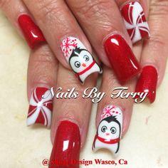 Penguin Christmas nails