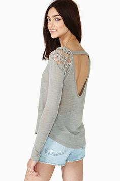 scoop back with strap detailing gray knit