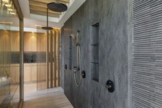 Luxury Queensland Home – Corian Shower wall. Corian Lava Rock. Designer is Mark Gacesa of Ultraspace. Interiors by Minka Joinery www.minkajoinery.com.au