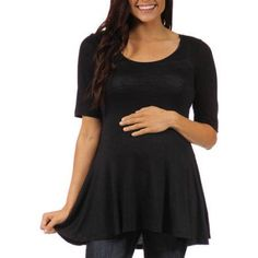 24/7 Comfort Apparel Women's Maternity 3/4-sleeve Tunic, Size: Large, Black