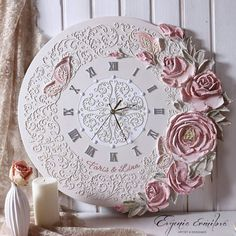 Смотрите это фото от @evgenia_ermilova на Instagram • Отметки «Нравится»: 1,230 Clock Craft, Diy Clock, Clock Painting, Sculpture Painting, Handmade Clocks, Clay Art Projects, 3d Wall Art, Home And Deco, Cold Porcelain