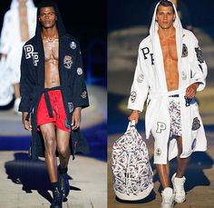 Philipp Plein 2015 Spring Summer Mens Runway Looks - Milano Moda Uomo Collezione Milan Fashion Week Italy Camera Nazionale della Moda Italiana - Denim Jeans Ripped Destroyed Frayed Destructed Outerwear Blazer Coat White Nautical Marine Military Sailor Rhinestones Metallic Studs Sequins Anchor Emblems Patches Leather Shorts Alligator Crocodile Reptile Skin Stripes Knit Sweater Jumper Bomber Jacket Motorcycle Biker Anchor Shark Vest Jogging Sweatpants Robe