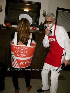 Coolest Colonel Sanders and Bucket of Fried Chicken Couples Costume - 1