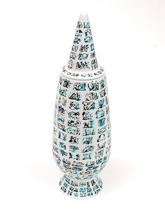Alessandro Mendini covered vase 100 Make-up no.85 with decoration of Dagmar Trinks Germany from the limited series of 100 vases per decor for Alessi / made in Germany
