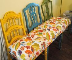 bench made from refinshed thrift store chairs- pick better colors