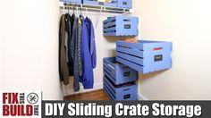 DIY Sliding Wood Crate Storage | Small Closet Upgrade
