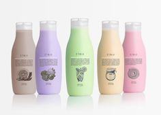 Lavernia & Cienfuegos developed the bottle design, graphics, and copy for ETNIA HAPPY, a line of fragrant body lotions and shower gels / illustration packaging
